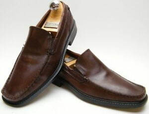 798397c811 Details about MENS ECCO BROWN LEATHER SLIP ON LOAFER MOC TOE DRESS SHOES SZ  43 USA 9-9.5