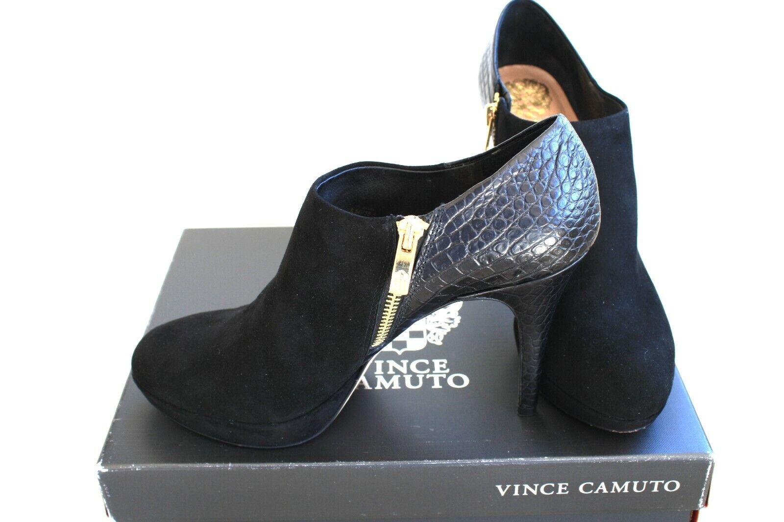 NIB Vince Camuto BLACK Leather Glossy Crock Stiletto Heel Ladies shoes 8.5 M