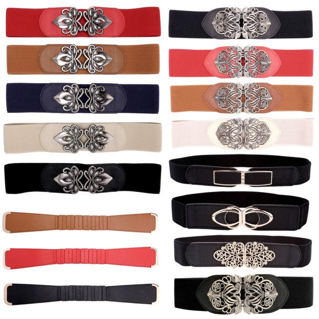 Women/'s Stretch Waist Belt Rhinestone Crystal Buckle Belt Cinch Casual Wear
