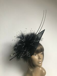 New-Bespoke-Black-Silver-Beads-Hat-Fascinator-Mother-Of-The-Bride-Groom-Weddings