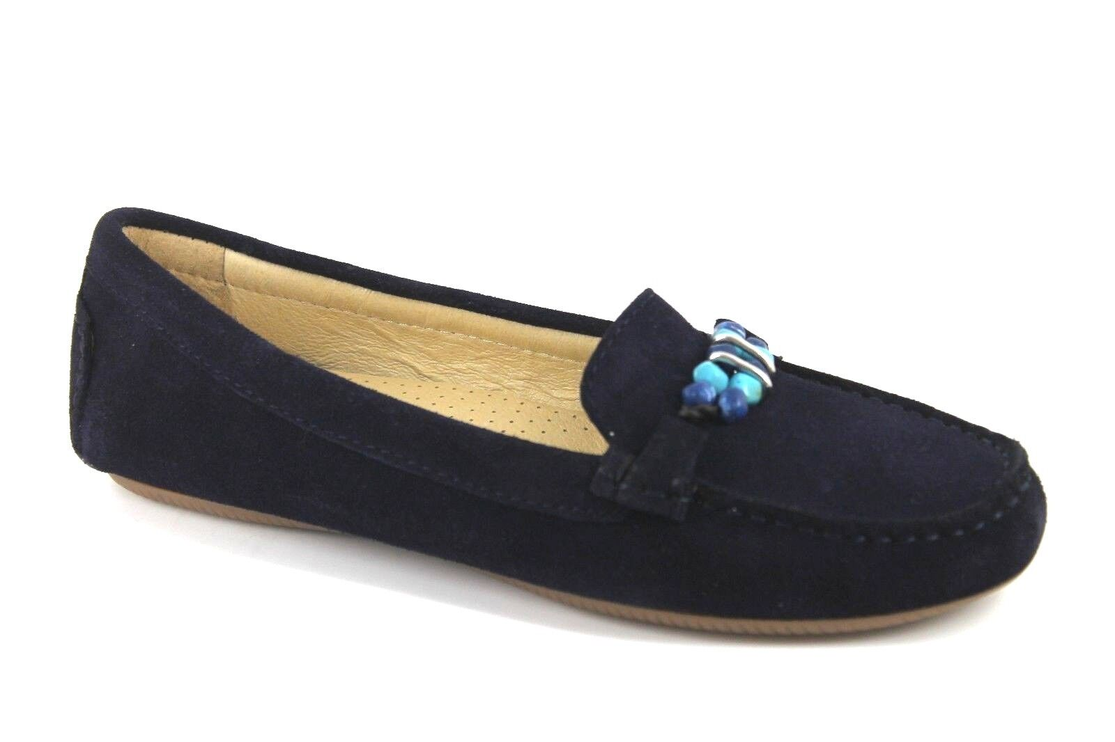 Artigiano Womens UK 7 EU 40 Navy bluee Suede Pearl Pearl Pearl Moccasin Slip On shoes Flats 2e9f50