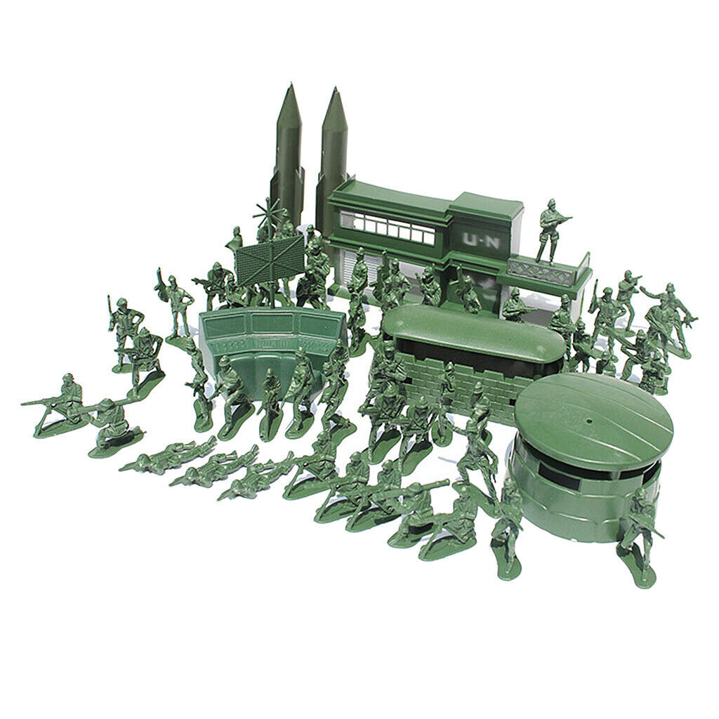 56pcs Military Model Playset Toy Soldier Army Men Action Figures Play Set