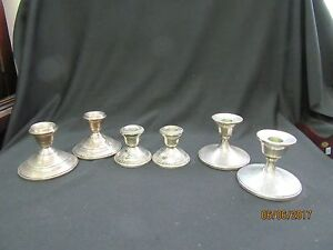 3 PAIR STERLING SILVER WEIGHTED CANDLESTICKS 1397 GRAMS