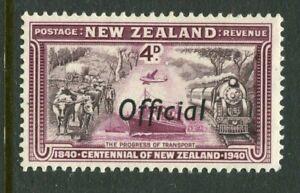 NEW ZEALAND....  1940 centennial  4d transport  OFFICIAL  overprint  mnh