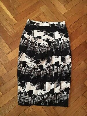 Women's Clothing Lydia Delgado Black White Pencil Skirt Abstract Size 36/38 Women Office Elegant Latest Technology Clothing, Shoes & Accessories