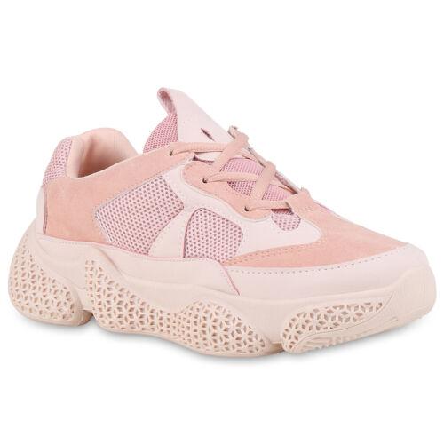 Damen Plateau Sneaker Turnschuhe Schnürer Profilsohle Plateauschuh 826043 Trendy