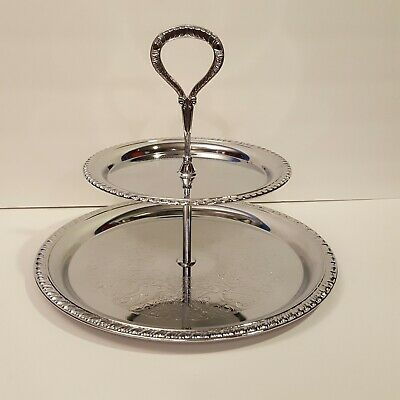 Vintage Ornate Irvanware Serving Tray Chrome Round Serving Platter Regency Table Center Piece, Ornate Serving Tray