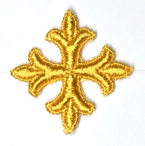 Vintage-Francese-Croce-Fleury-Ricamo-1-034-da-Cucire-Oro-K-Emblema-Toppe-12-Pezzi