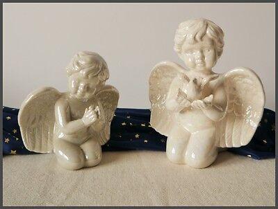 2-er Set ENGEL Figuren betend & sitzend m. Vogel 13/17 cm hoch Keramik *NEU*