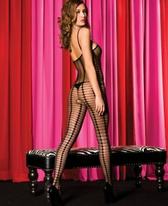 Black-or-White-Sheer-Vertical-Stripe-Bodystocking-Open-Crotch-OS-Music-Legs-1174