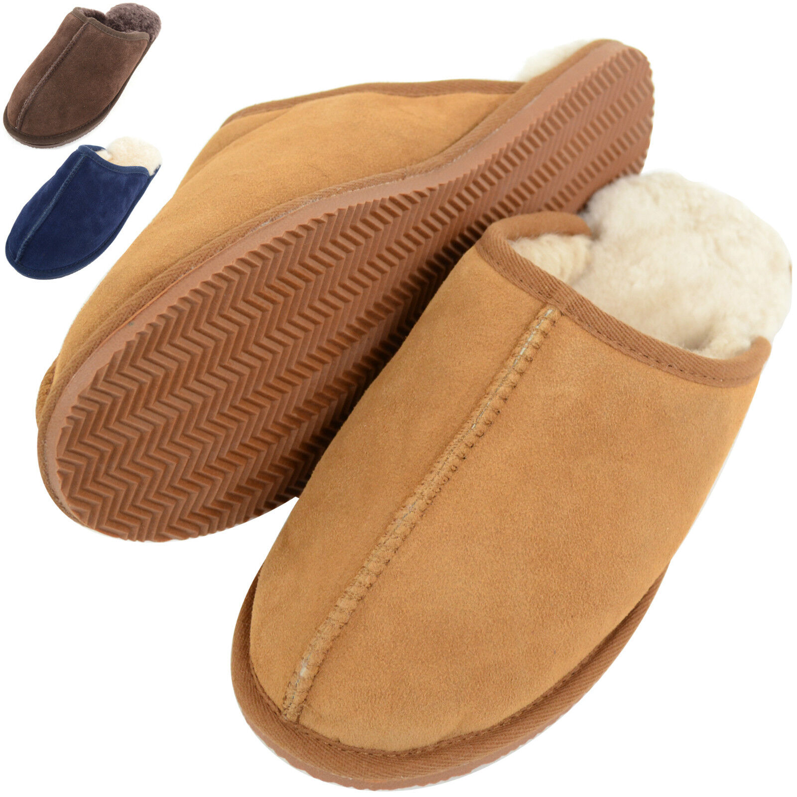 Uomo Sheepskin Mules / Sippers with Man Made Sole