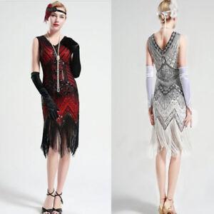 Image Is Loading 1920s V Neck Beaded Fringed Great Gatsby Dress