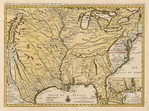 Details about Map of the Mississippi River and Louisiana 1730 Vintage Style  US Map - 24x32