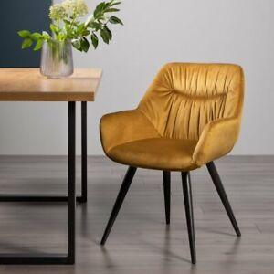 Dali - Pair of Mustard Velvet Fabric Chairs with Sand Black Powder Coated Legs