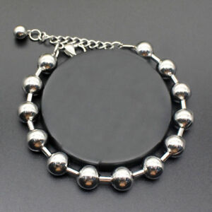 Mens-Boy-Silver-Stainless-Steel-Round-Beads-Bracelet-Bangle-Wristband-Cuff-Chain