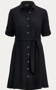 Lauren-de-Ralph-Lauren-boutonne-Shift-Robe-Noire-UK-4-US-0-Bnwt
