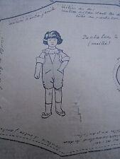 """PATRON ORIGINAL POUR LA POUPEE BLEUETTE """" COSTUME DE GARCON NOVEMBRE 1919"""