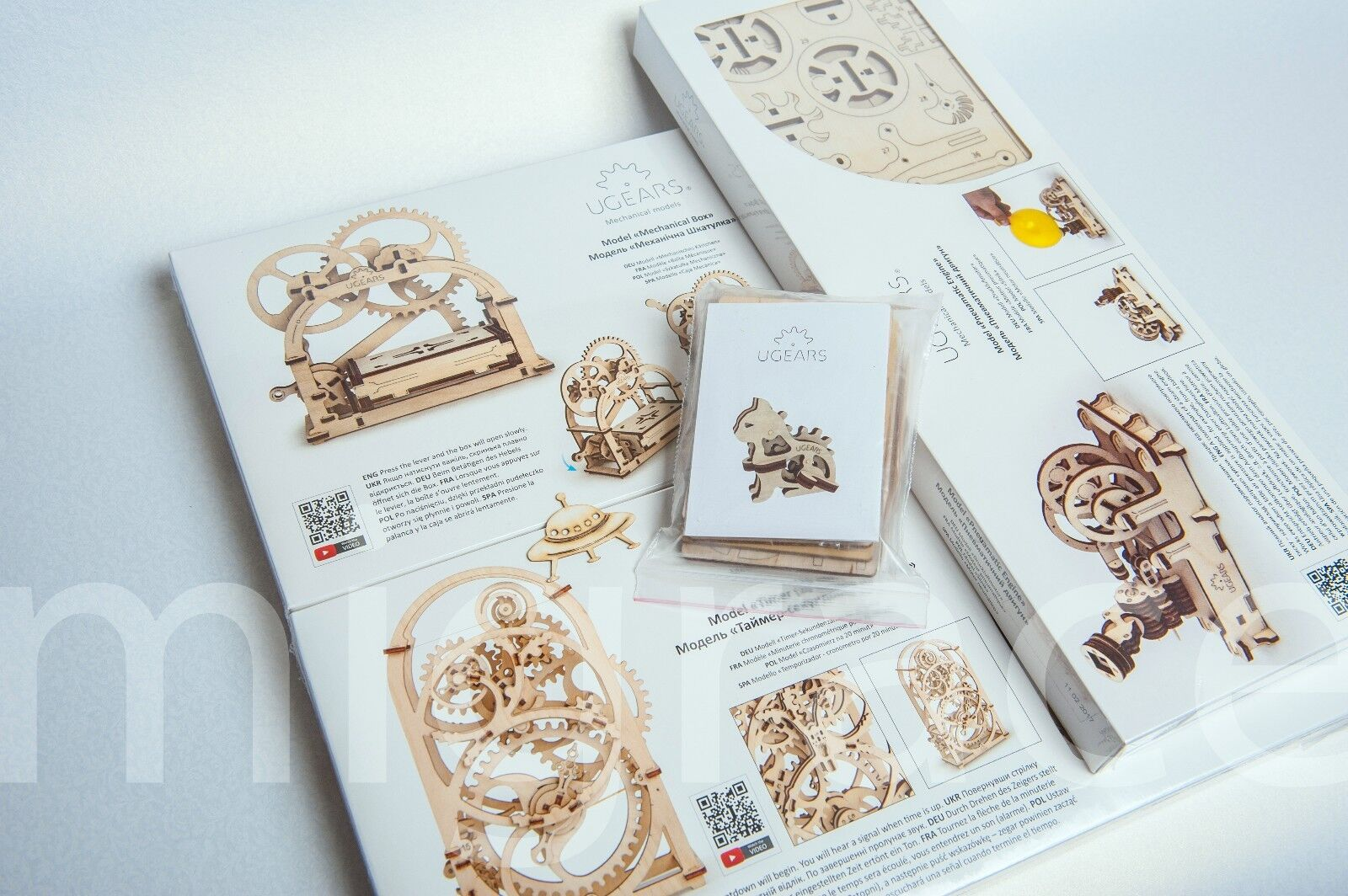 UGears BUNDLE 3 MODELS 3D puzzle ENGINE, TIMER, MECHANICAL BOX + BONUS
