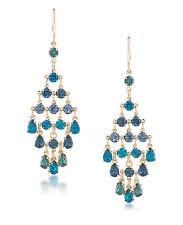 CAROLEE 'Niagra Mist' Blue Green Crystal Gold-Tone Chandelier Earrings
