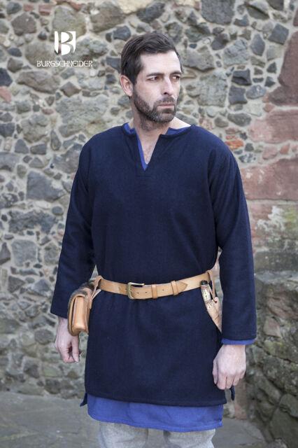 Mittelalterliche Tunika Lodin Blau Wolle von Burgschneider