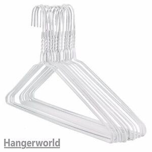 20-Strong-White-Metal-Wire-Hangers-Clothes-Coat-Suit-Garment-40cm-Hangerworld
