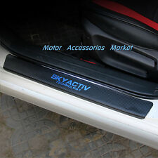 Carbon Fiber Style Leather Door Sill Plate for Mazda 3 6 Axela Atenza CX-5