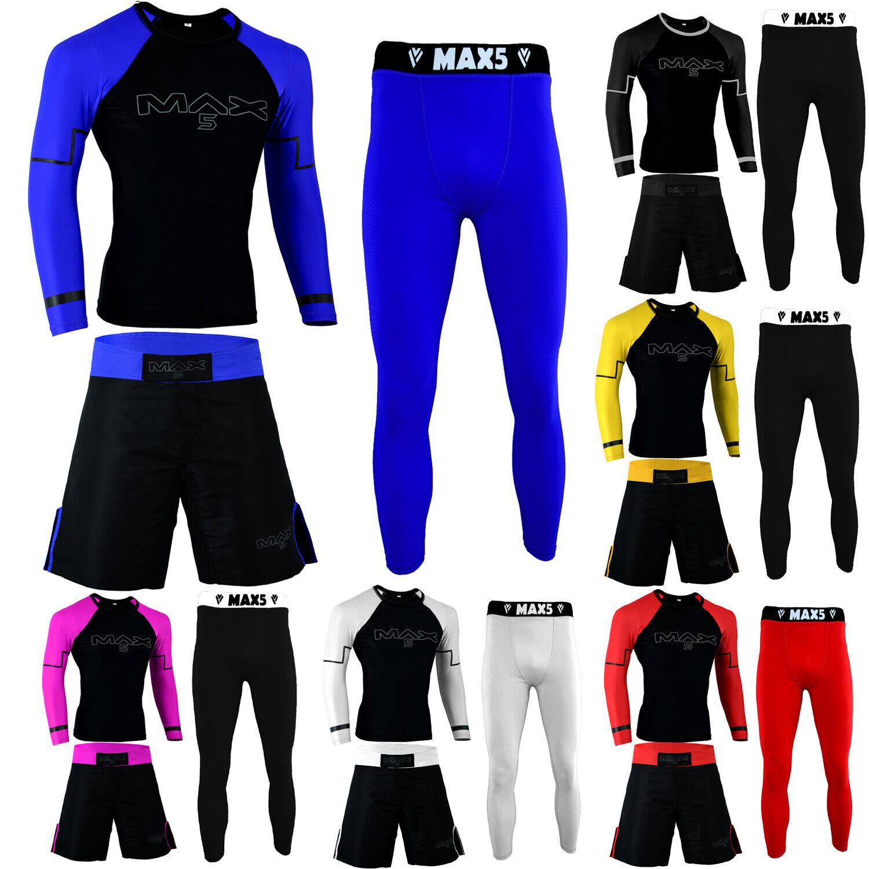 Max5 No Gi Wear BJJ Grappling Rash  Guard MMA Short Compression Leggings 3Pcs Set  cheaper prices