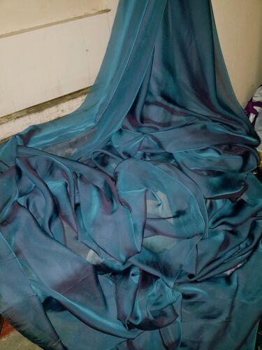 "5M CATIONIC  TWO TONE LILAC TEAL BLUE SOFT  DRESS CHIFFON FABRIC 58/"" WIDE"