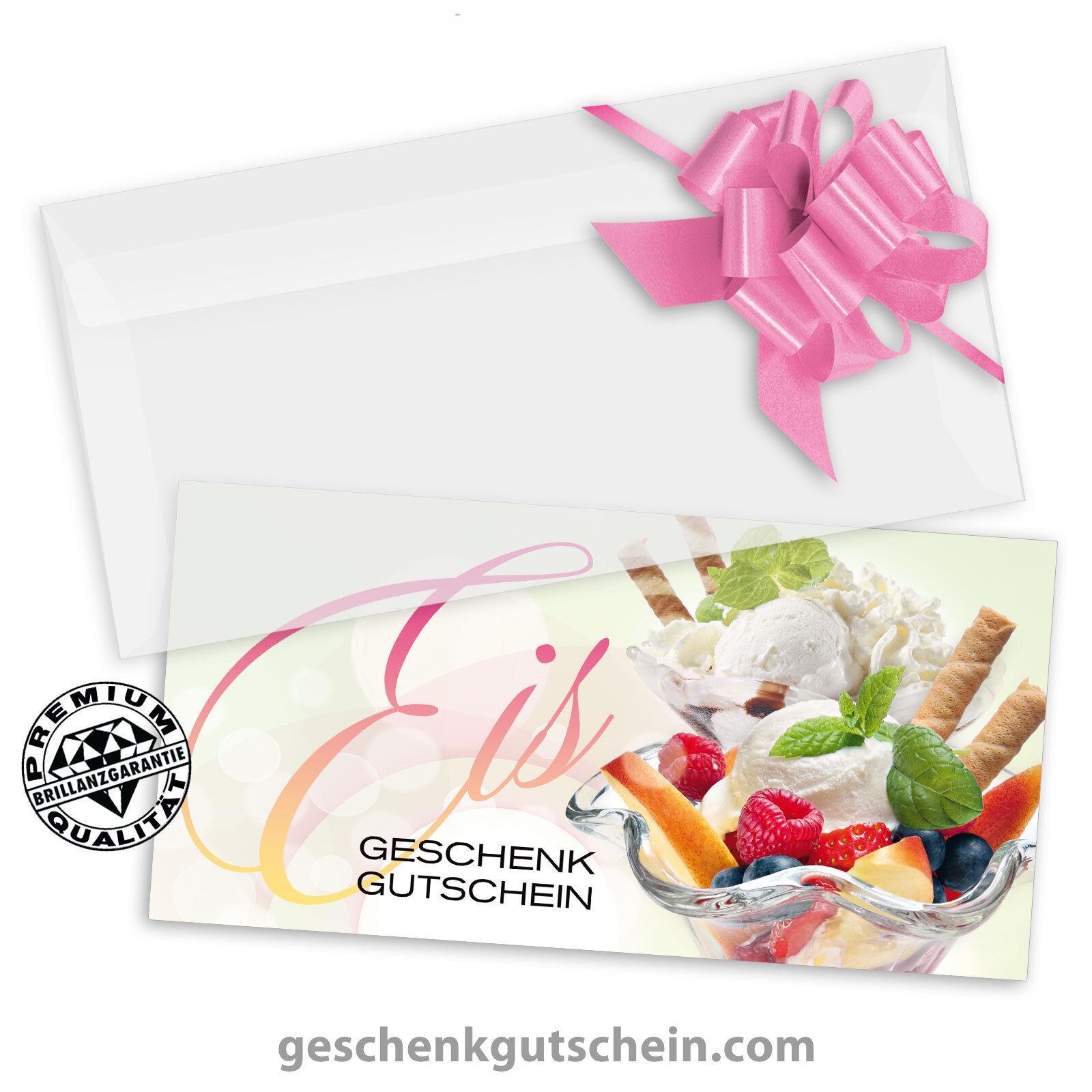 Gutscheinkarten  DINlang  mit KuGrüns und Schleifen für Eiscafé Eisdiele G92003