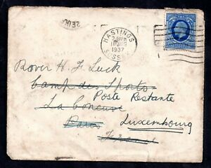 GB-1937-KGV-2d-Cover-to-France-then-Luxembourg-Posted-twice-WS18224