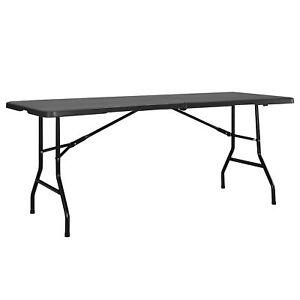Détails sur Table Pliante Table de Buffet Gris 183x76cm à Manger Jardin  Camping Table