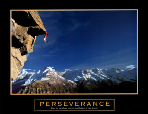 Motivational Inspirational Poster Print Rock Climbing PERSEVERANCE Cliffhanger