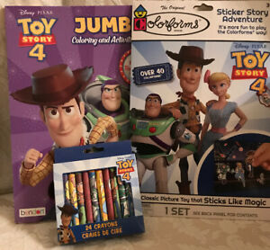 Disney-Lot-Toy-Story-4-Jumbo-Coloring-Act-Book-Colorforms-24-Crayons-40-Stickers