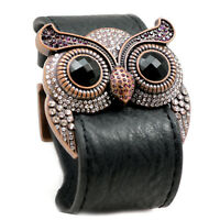 Accents Kingdom Owl Leather Cuff Bracelet Simulated Amethyst Crystal