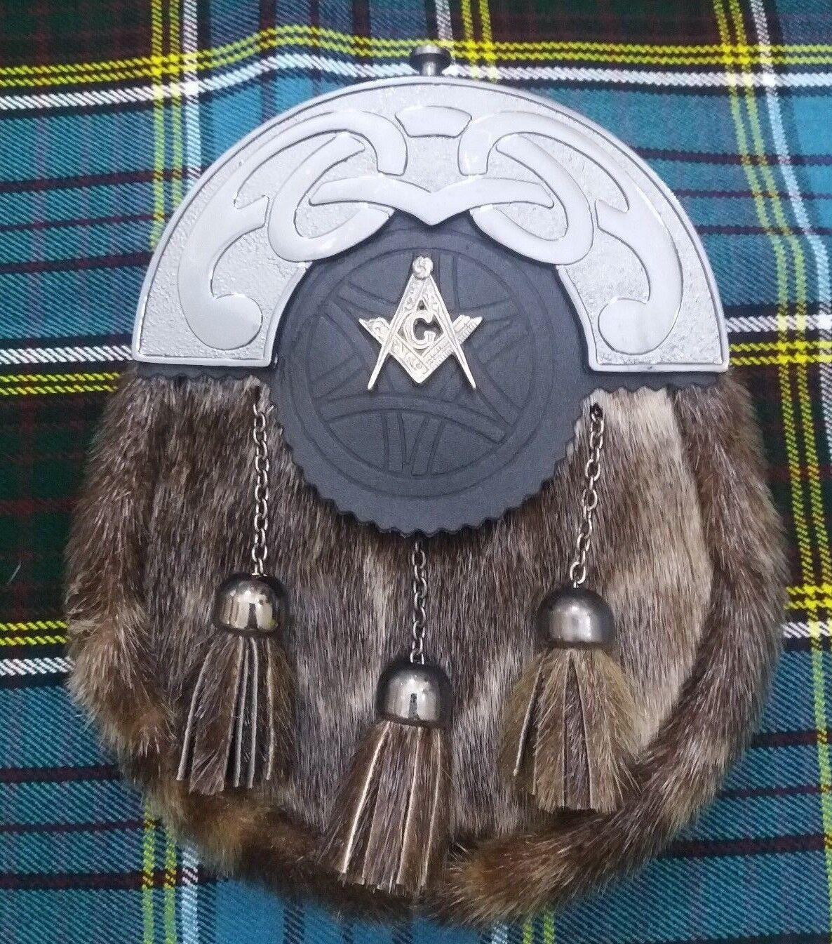 Scottish Dress Kilt Sporran Seal Skin Celtic Antique Masonic Badge/Highland Kilt