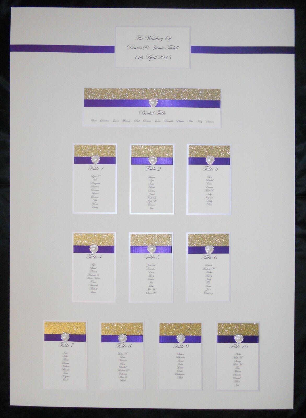 Paillettes Table De Mariage plan Seating graphique A1 Personnalisé Siège plan de toutes les couleurs