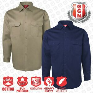 WORK-SHIRT-NAVY-KHAKI-Air-Vent-UPF-50-COTTON-DRILL-LONG-SLEEVE-TRADITIONAL-SHIRT