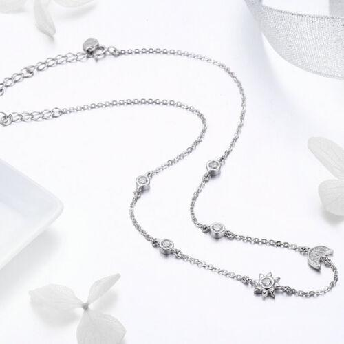 LUNE /& SOLEIL NEUF 925 Argent Collier Cristal Zircone Cubique Chaîne De Retenue Mariée Mariage Bijoux