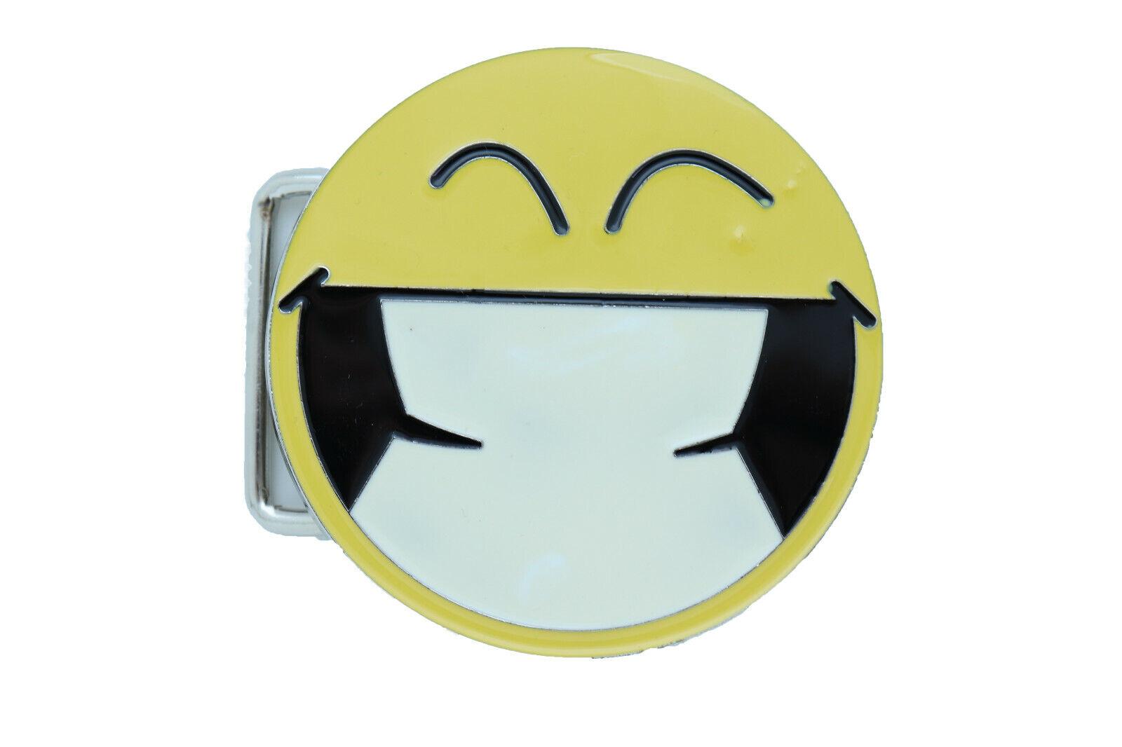 New Men Women Belt Buckle Silver Metal Yellow Smiley Face Eyes Emoji Round Shape