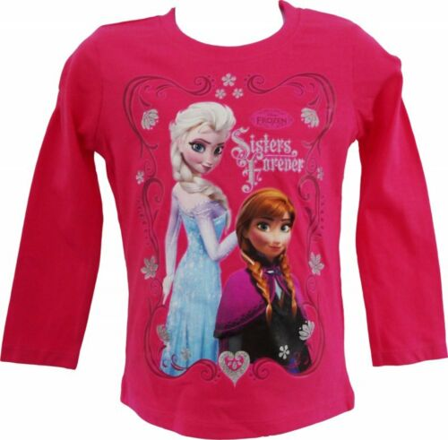 Official Disney Frozen Anna Elsa Haut à Manches Longues T Shirt Neuf 2-10 ans tee