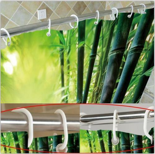 Light Brown Rustic Wood Door Fabric Shower Curtain w//12 Hooks Bathroom Rug Set