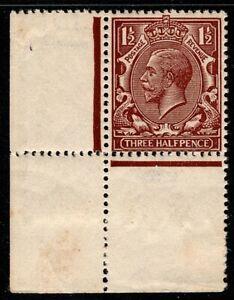 1912 KGV SG363 1 1/2 D Marrón Chocolate-N18 (6) esquina marginal MVLH Perfecto OG