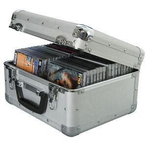 Aluminium-Metal-CD-Boite-de-rangement-vol-Carry-Case-Detient-40-avec-serrure-et-2-cles