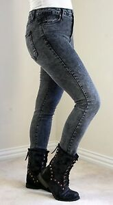 Just USA Black Acid Wash High Rise Waist Skinny Denim Jeans MADE IN USA