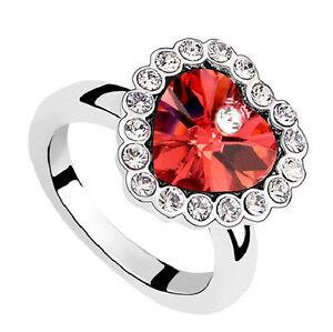 Romantico-Cuore-Rosso-LOVE-Cristallo-Anello-regolabile-per-tutte-le-taglie-FR123