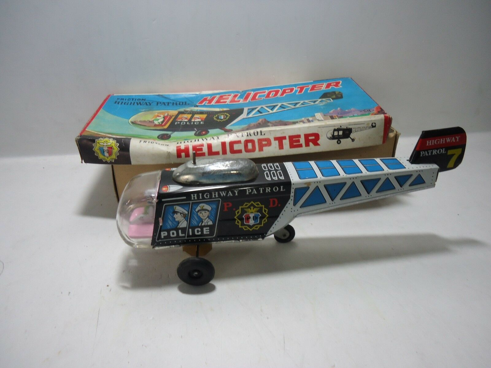 HELICOPTER HIGHWAY PATROL MADE IN JAPAN SN TIN LITHO