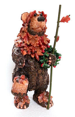 Christmas Xmas Festive Brown Bear Resin Figurine Table / Mantle Decoration 9039