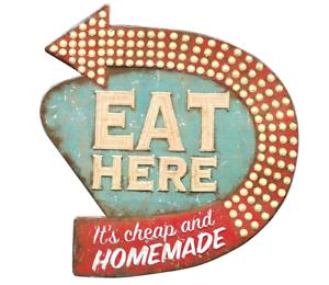 Image Is Loading Retro Vintage Metal Tin Sign 50s Kitchen Diner