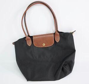 Details about Longchamp Paris Black Brown Leather Le Pliage Shopping Modele Depose Bag Tote