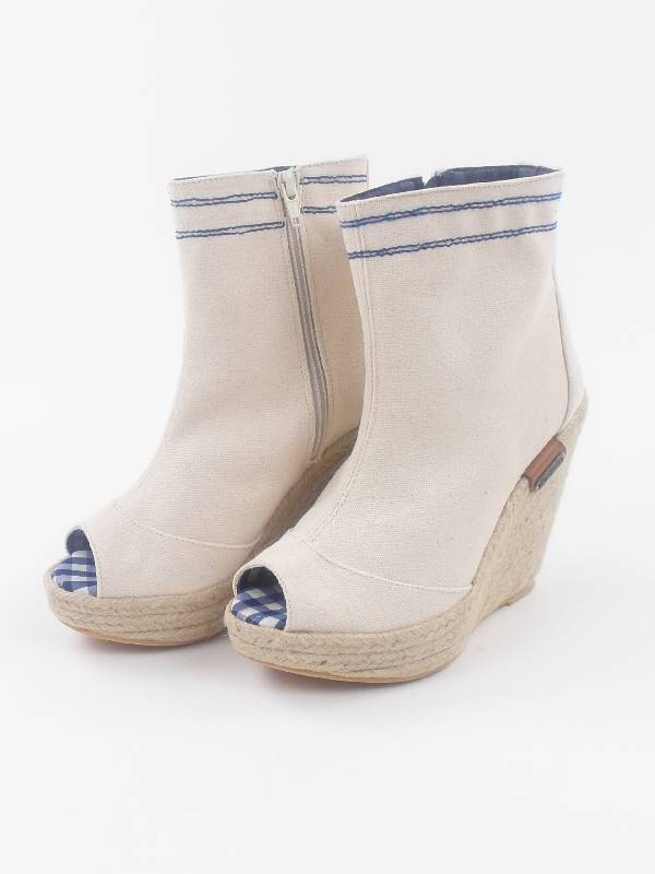Pepe Jeans Ankle Boots Wedges shoes irn-250 A White Wedge Heel Canvas